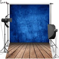 Blue Concrete Wall Vinyl Photography Background Backdrop For Wedding Wood Floor New Fabric FlanneBackground For Photo Studio 723