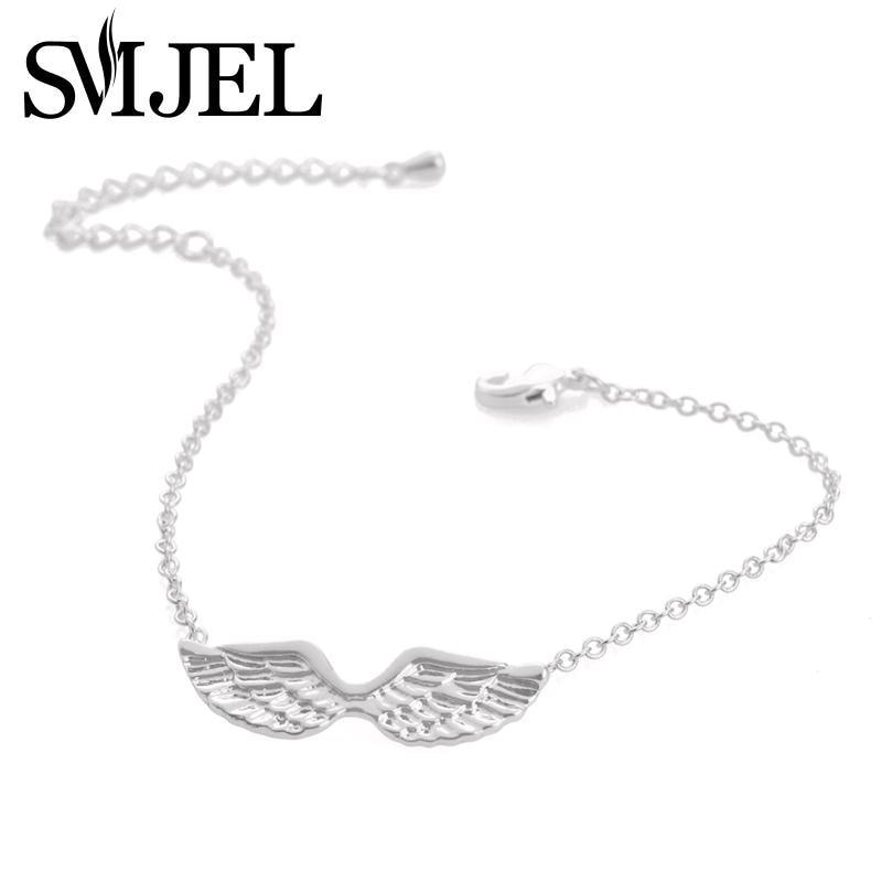 SMJEL 2017 New Angel Wings Bracelet Femme Guardian Angel Trendy Icarus Wing Bracelets for Women Party Gifts B016