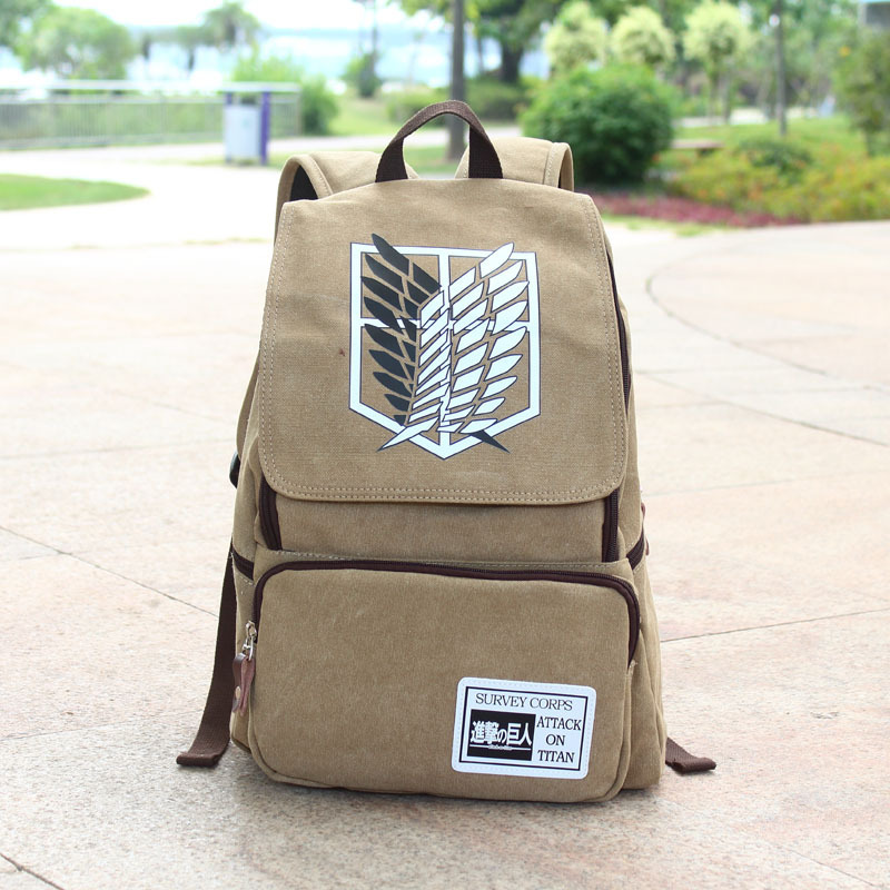 2019 New Attack on Titan <font><b>backpack</b></font> Shingeki no Kyojin <font><b>Backpack</b></font> Teenagers Men Women's School Bags Canvas Cartoon mochilas image