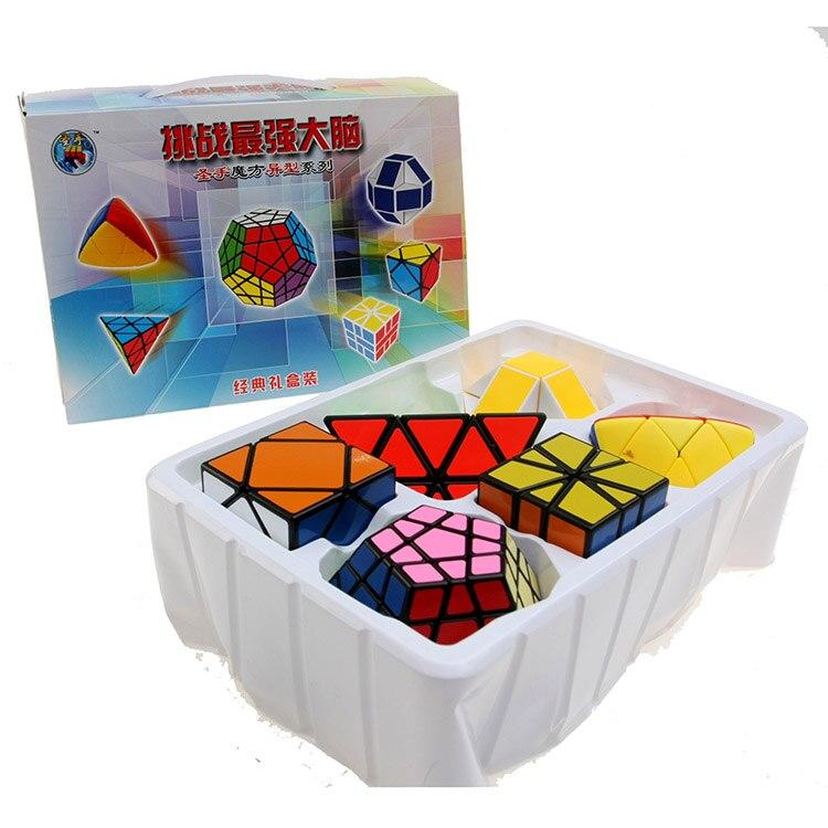 Shengshou Bundle 6 pièces Vitesse Cubes Magiques Casse-Tête Torsion Classique Jeu de Cerveau Sphérique Dodécaèdre Serpent 6 en 1 Jouets Éducatifs