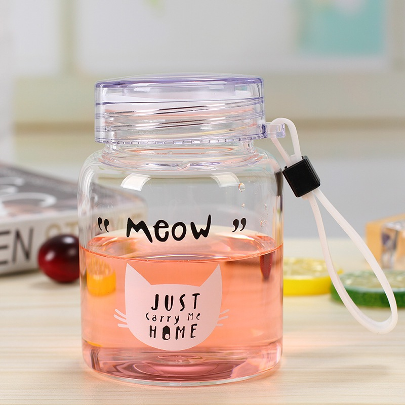 350ML Mini Wide Mouth Glass Water Bottle Cute Cartoon Pattern Drinking Container Travel Mug With Rope Water Bottles Home & Garden - title=
