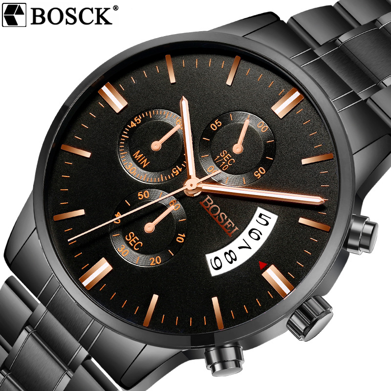 BOSCK Ultra Thin Guartz Watch Men Luxury Brand Watches Full Stainless Steel With Diamond Man Watch Clock Men Relogio Masculino fashion watch top brand oktime luxury watches men stainless steel strap quartz watch ultra thin dial clock man relogio masculino