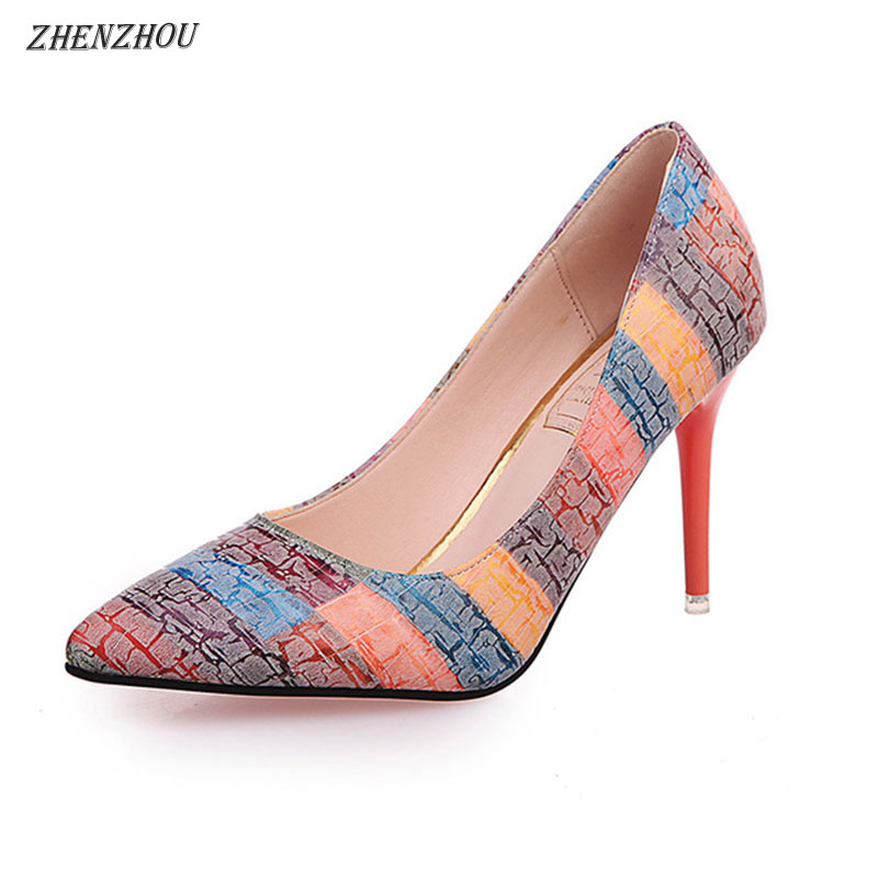 Free shiping Pumps Woman shoes 2018 autumn fashion thin heels pointed toe Work shoes single Rainbow color High heels big size 40 41 42 women pumps 11 cm thin heels fashion beautiful pointy toe spell color sexy shoes discount sale free shipping