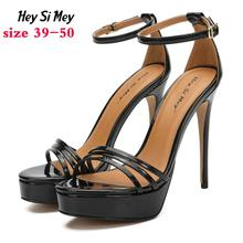 Summer women's shoes high heels Open toe sandals fashion Round head Buckle Patent leather Fine heel Ankle strap rubber big size black white summer patent leather sandals ankle buckle strap open toe high thick heel gladiator casual party shoes nancyjayji