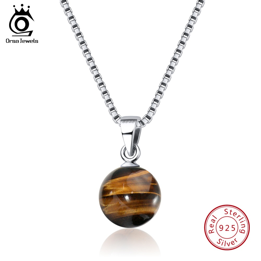 ORSA JEWELS 100% Real 925 Sterling Silver Necklaces&Pendants For Women Tigers Eye Stone Pendants Fashion Female Jewelry SN87-H