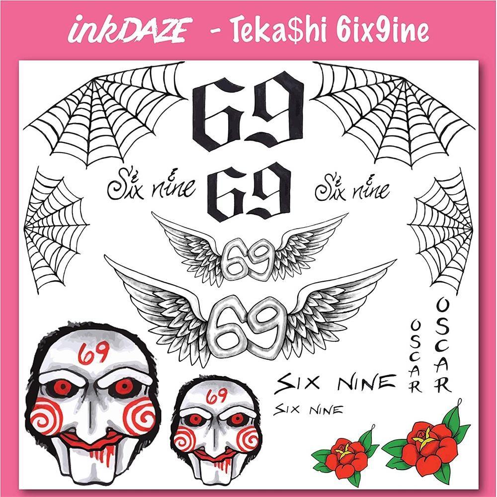 69 Face Tats: 69 Temporary Tattoo Triangle Geometry Temporary Fake