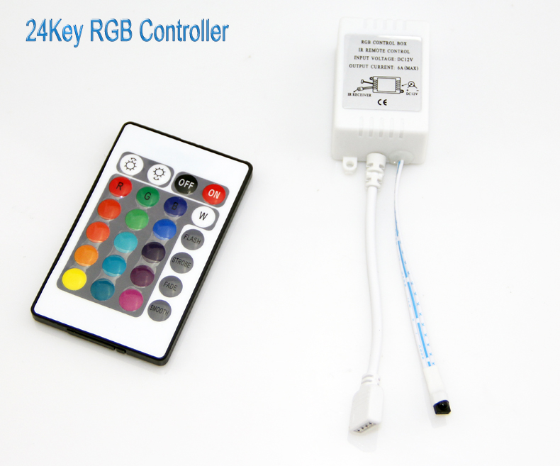 10pcs/lot 24key RGB Controller LED Strip IR Remote Control Box Available for SMD 5050/3528 Free Shipping