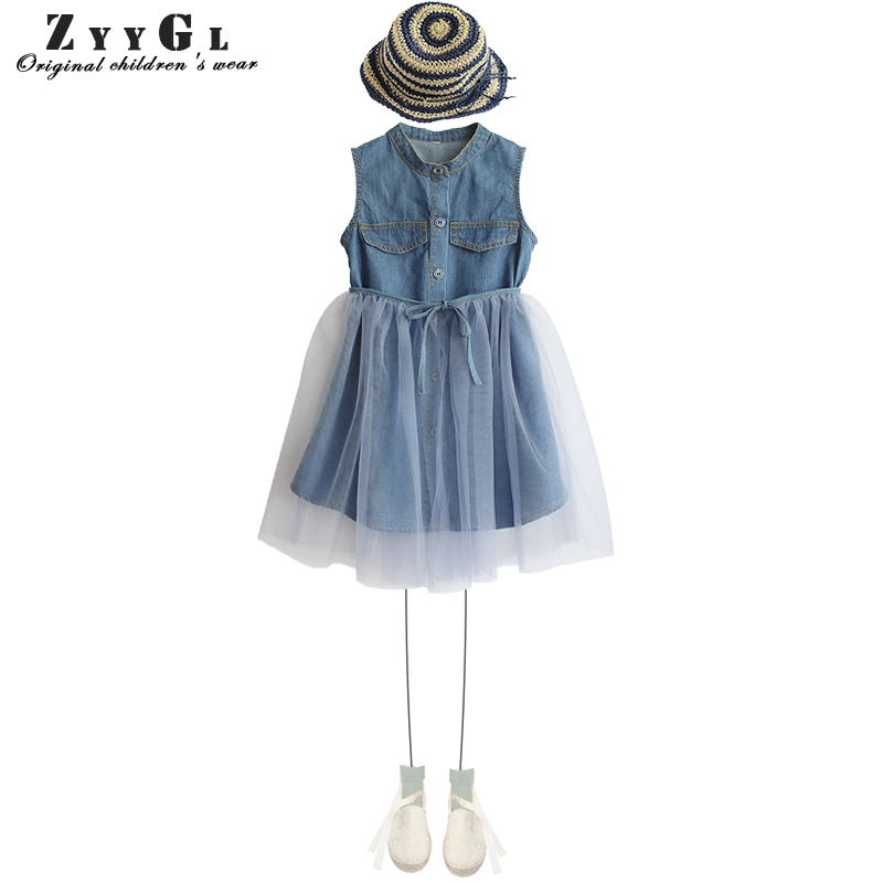 ZYYGL British style girl baby fairy lady princess air cowboy dress suit summer suit Princess dress denim dress for girl clothes baby girl denim strap dress 2018 summer new suspender dress baby girl clothes denim sundress for girl children clothing cowboy