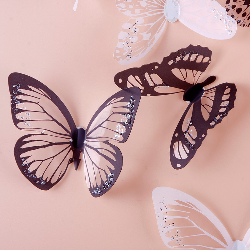 Aliexpress.com : Buy 18pcs/Set Wonderful Blacku0026White 3D Butterfly Sticker  Art Design Decal Wall Sticker Decoration #84350 From Reliable Sticker Set  ...