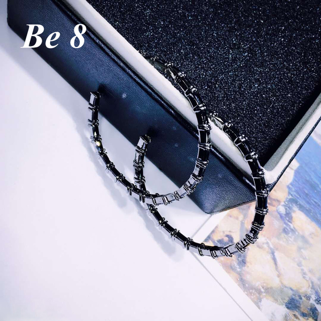 Be8 Brand  Newly Round Shape AAA Cubic Zirconia Hoop Earrings Black Gun Plated Earrings For Women Party New Year's  Gifts  E-289