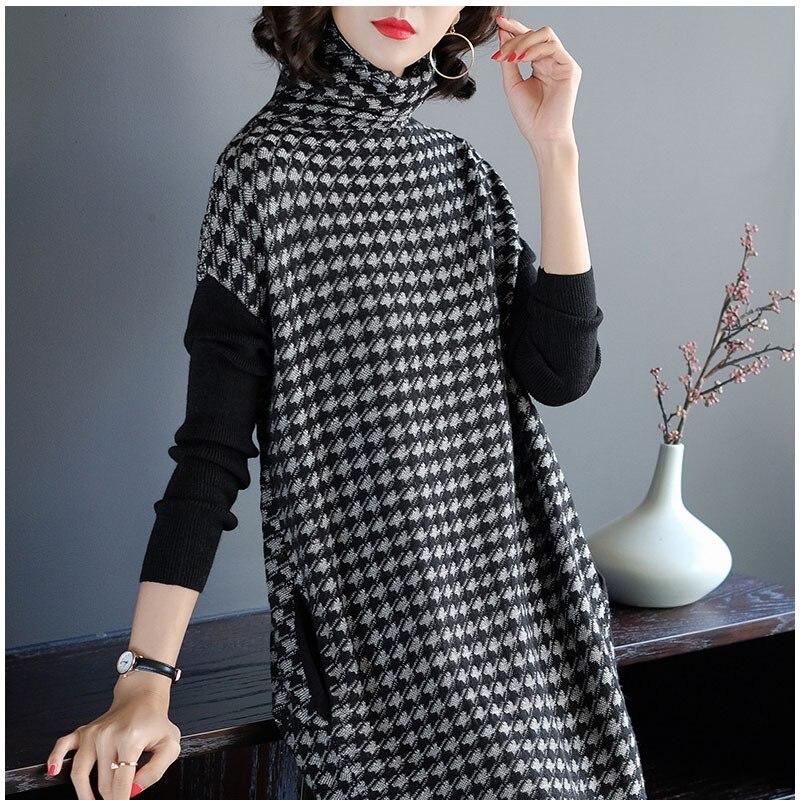 Plus Size Women Black Houndstooth Knitting Stretch Sweater Dress Winter Female Dresses Vestido Clothing Robes