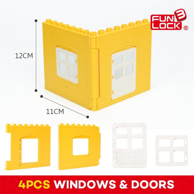 Funlock Duplo Building Blocks Gate Window Set Building Parts Creative Educational Assembly Bricks Set for Kids Children