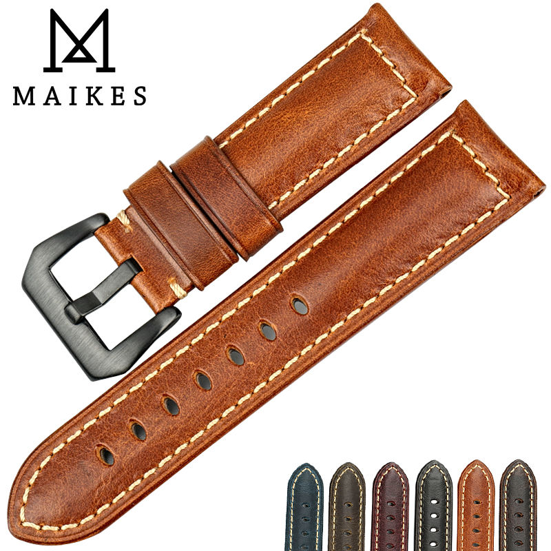 MAIKES Vintage watchbands Italian cow leather watch band 20mm 22mm 24mm 26mm watch bracelet watch strap with buckle for Panerai eache 20mm 22mm 24mm 26mm genuine leather watch band crazy horse leather strap for p watch hand made with black buckles