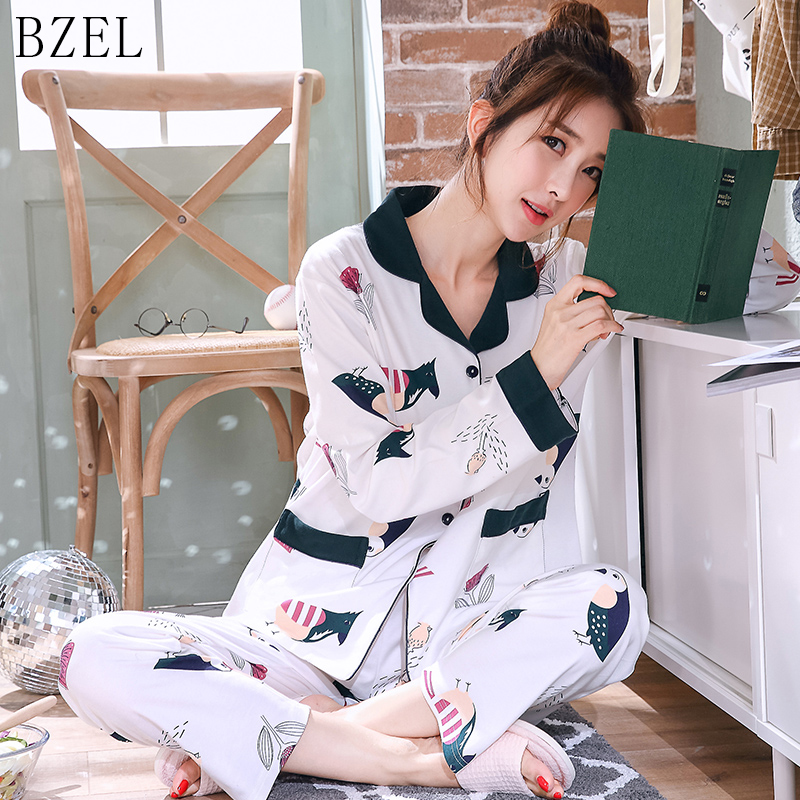 BZEL Women's Sleepwear Cotton   Pajama     Set   Turn-down Collar Pyjamas Long Sleeve Sleep Lounge Leisure Home Cloth Plus Size M-3XL