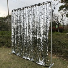 Curtain Backdrop Photo-Booth Sequin Wedding Shinny Silver Seamless