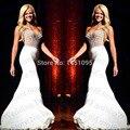 Nueva Llegada de La Sirena de Gasa Con Cuentas Blusa Vestido de Fiesta Con Diamantes de Imitación Largo Elegante de Las Mujeres Vestido de Noche de Lujo 2014 Con El Cristal