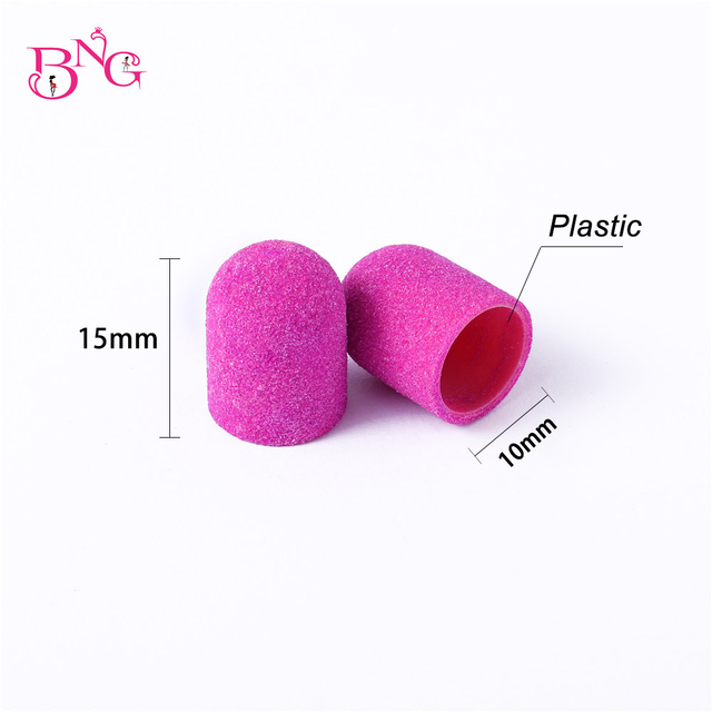 BNG 5pcs 10*15mm Hot Sell Pink Blue Nail Art Sanding Caps Bands Manicure Pedicure Nail Tools File For UV Gel Acrylic Polishing 3