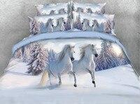3D лошадь Постельные принадлежности устанавливает одеяло постельное белье кровать в мешок листа белье покрывало животных печати супер king