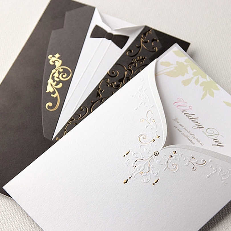 10 Pieces Lot Western Style Bride Dress And Groom Suit Wedding Invitation Card