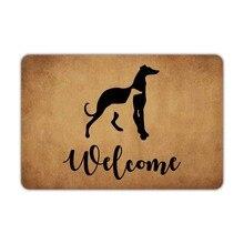 Alfombra de bienvenida para la puerta delantera, galgos, perros, bienvenida, lavable a máquina, de goma, antideslizante, para decoración de baño y cocina