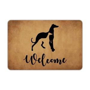 Image 1 - Alfombra de bienvenida para la puerta delantera, galgos, perros, bienvenida, lavable a máquina, de goma, antideslizante, para decoración de baño y cocina
