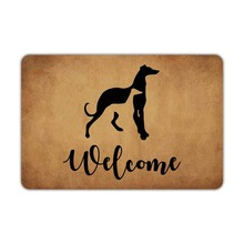 ด้านหน้าประตูWelcome Mat Greyhoundsสุนัขยินดีต้อนรับเครื่องซักผ้ายางลื่นห้องน้ำพื้นที่ตกแต่งตลกD