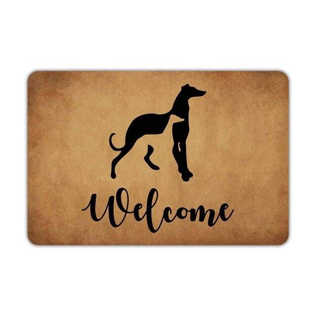 Ön paspas karşılama Mat Greyhounds köpekler karşılama makinesi yıkanabilir kauçuk kaymaz destek banyo mutfak dekoru alanı komik D