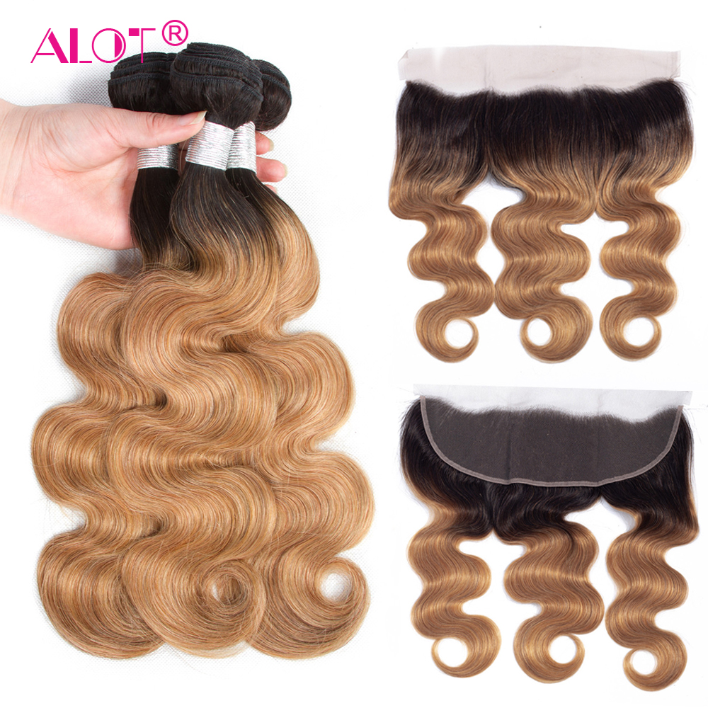 ALot Brazilian 1B/27 Honey Ombre Body Wave Pre Colored Human Hair Bundles With Frontal Non Remy Dark Root Hair Weaving