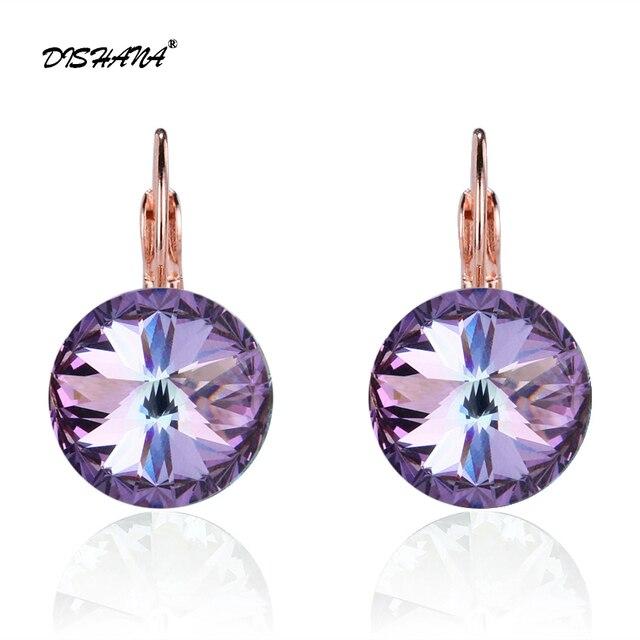 Dishana Romantic Jewelry 2017 Drop Earrings Wedding Elegant Rose Gold-color AAA