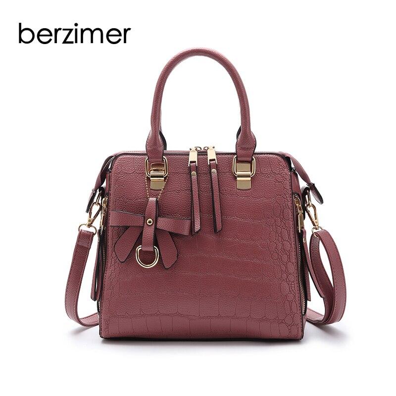 BERZIMER Fashion Women Shoulder Bags Black Grey Green Pink Handbags Large Capaticy Tote Bags for Women Girl Student цена
