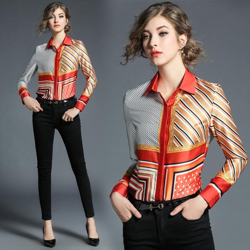 Chemise en mousseline de soie imprimé européen haut pour femme 2018 printemps nouvelles femmes Blouses à manches longues moulante Boho Blouse belles femmes Blusa
