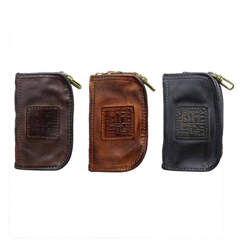 High-capacity Portable Genuine Leather Key Wallet Holder Card Case Keychain Pouch Zipper Purse for Men Women