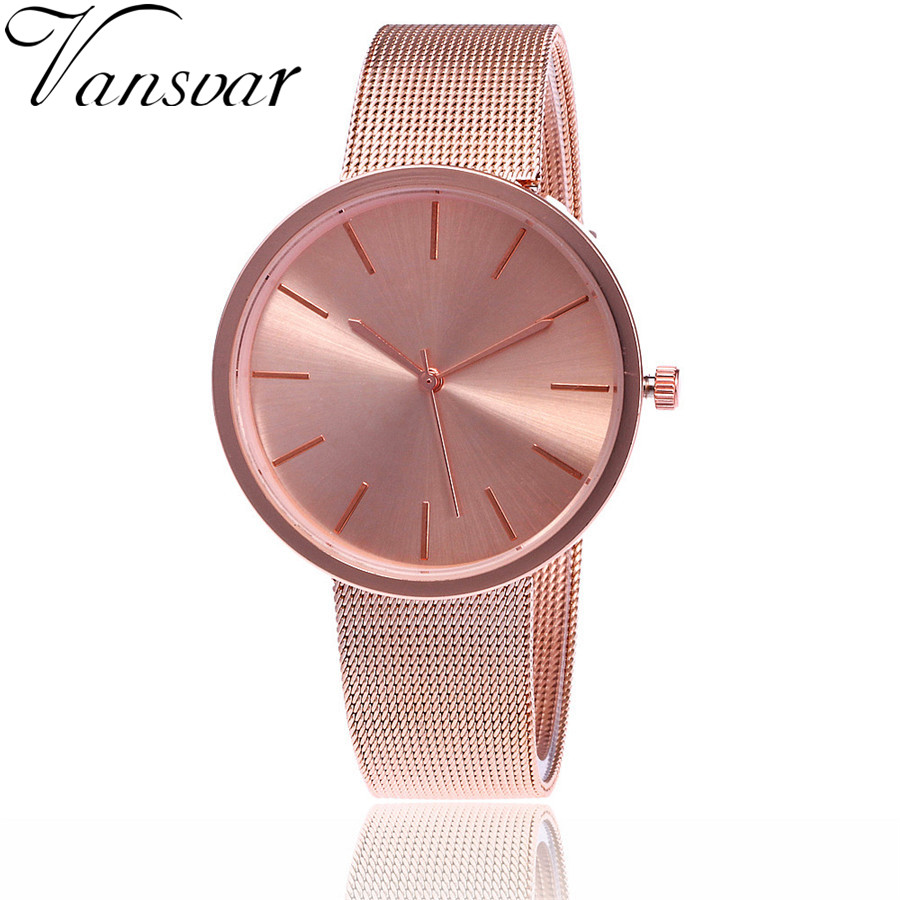 Vansvar Fashion Silver And Rose Gold Mesh Band Wrist Watch Casual Women Quartz Watches Gift Relogio Feminino Drop Shipping V69 adjustable wrist and forearm splint external fixed support wrist brace fixing orthosisfit for men and women