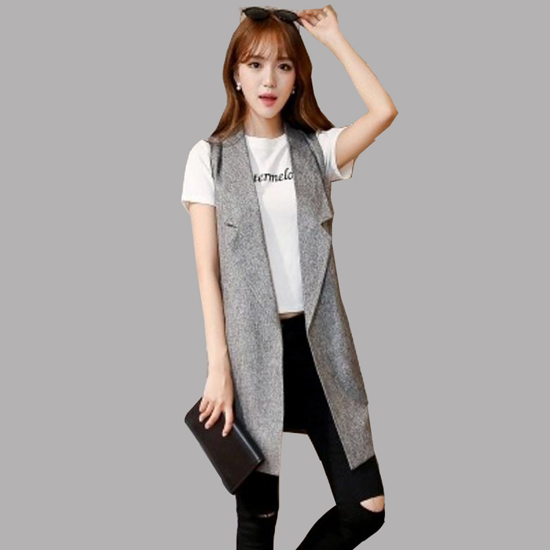 2016 New Arrival Autumn Women Vests Slim Sleeveless Blazer Lapel Jacket  Vests Hot Sale Solid Pockets - Popular Womens Blazer Vest-Buy Cheap Womens Blazer Vest Lots From