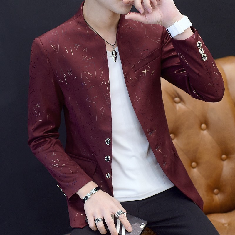 Chaqueta Hombre 2019 Autumn Irregular Line Print Blazer Masculino Slim Fit Men Blazer Hombre Size 6xl Stage Cloth For Dj Singer