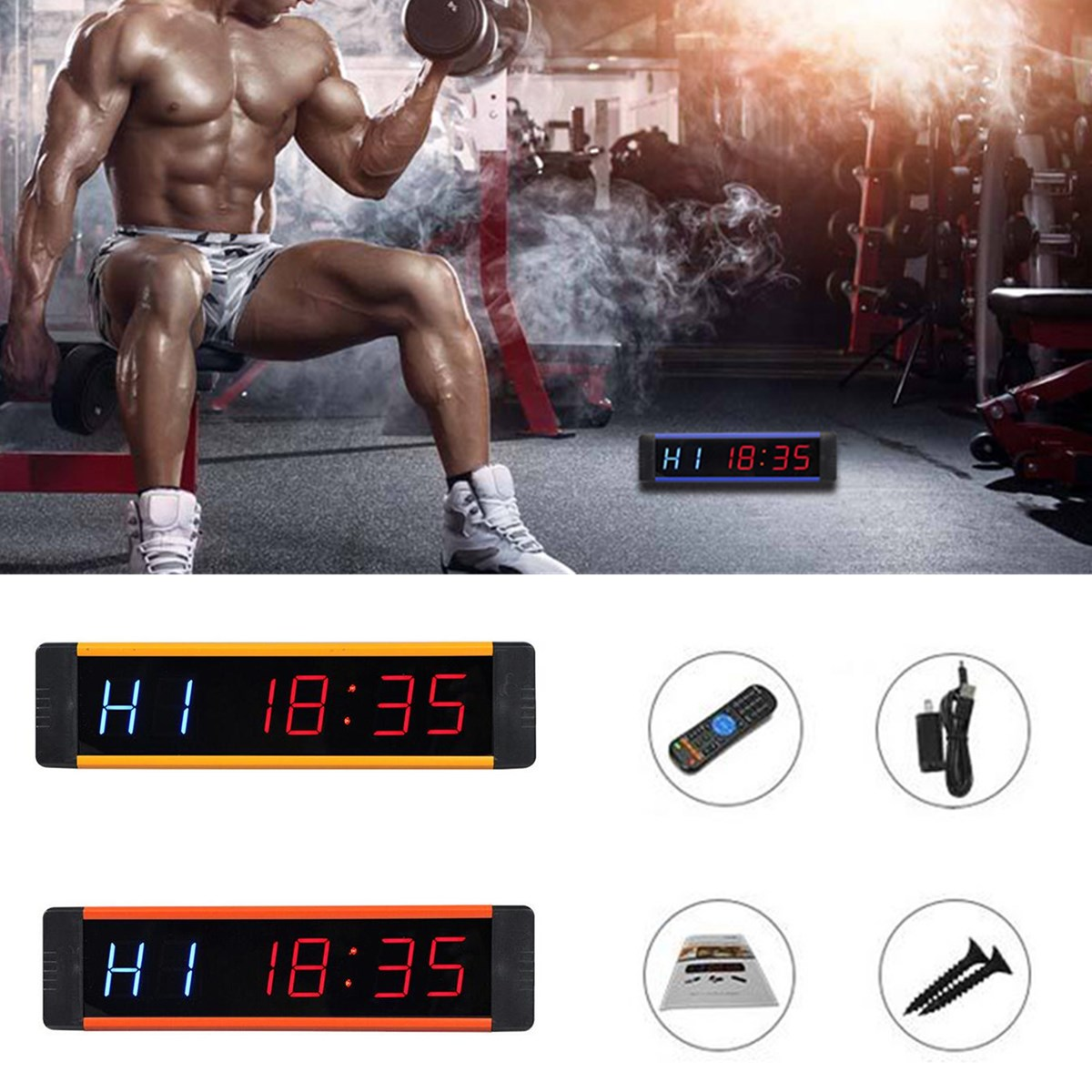 Free Shipping Programmable Timer LED Display Interval Timer Wall Clock For Gym Fitness Training Time And Rest Time Cycle