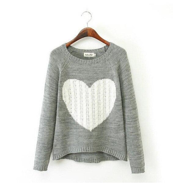 Mujer Sweters otoño invierno 2015 Big Love corazón patrones de punto ...