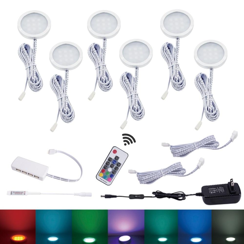 AIBOO LED armoire lumière 6 LED à couleur changeante armoire lampe Puck lumières Dimmable sous étagère cuisine comptoir meubles éclairage