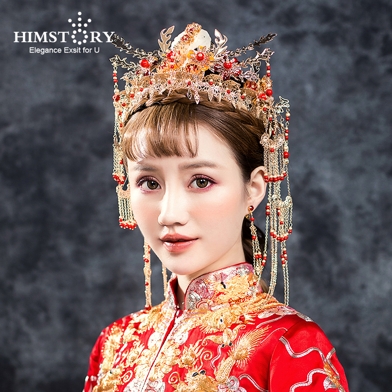 Traditional Chinese Bride Jewelry Wedding Headdress Women Costume Headwear Photography Hair Accessories Retro Queen Tiaras Crown
