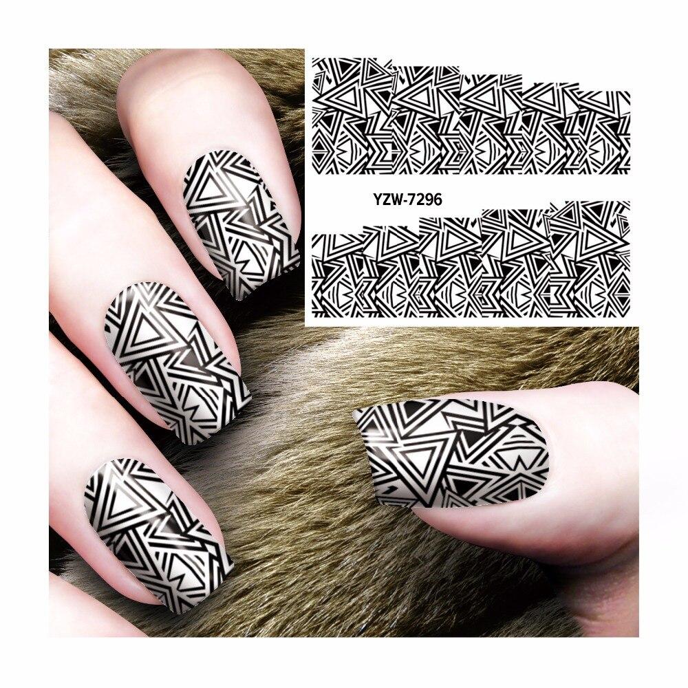fwc kuku decal air hitam segitiga wanita gaya stiker stamping untuk nail art stamp