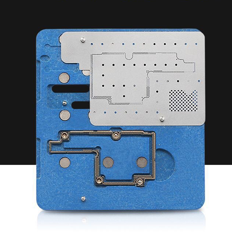 Logic Board BGA Repair Tools for iPhone X Planting Tin Fixture Motherboard IC Chip Ball Soldering Net logic board planting tin fixture with solder paste bga stencil for iphone x motherboard bga reballing stencil repair tools