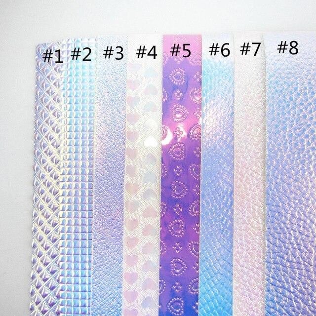 """Folha A4 8 """"X 11.8"""" Iridescente holográfico de couro PU tecido de couro sintético para o saco de arcos DIY projeto de artesanato 1 peças F0223"""