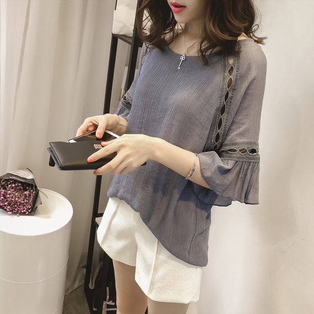 10fafc0fa9c New Women Casual Basic Summer Chiffon Blouse Top Shirt Hollow out Half  sleeve elegant blusas patchwork