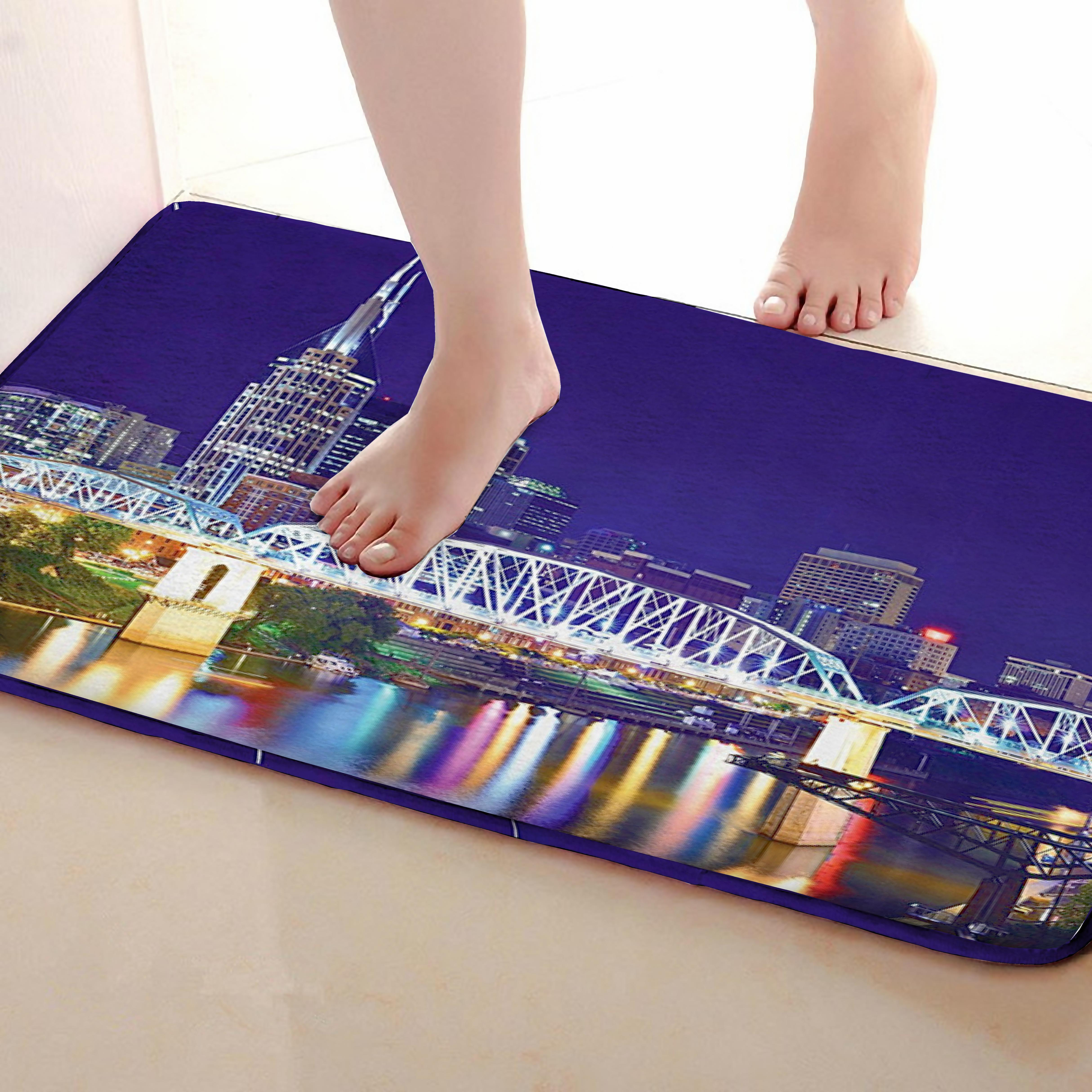 Bridge Style Bathroom Mat,Funny Anti skid Bath Mat,Shower Curtains Accessories,Matching Your Shower Curtain