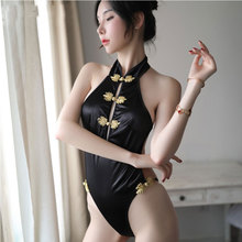 Sexy cheongsam uniform temptation retro slim onesies women halter hanging neck sexy lingerie sex clothes night erotic