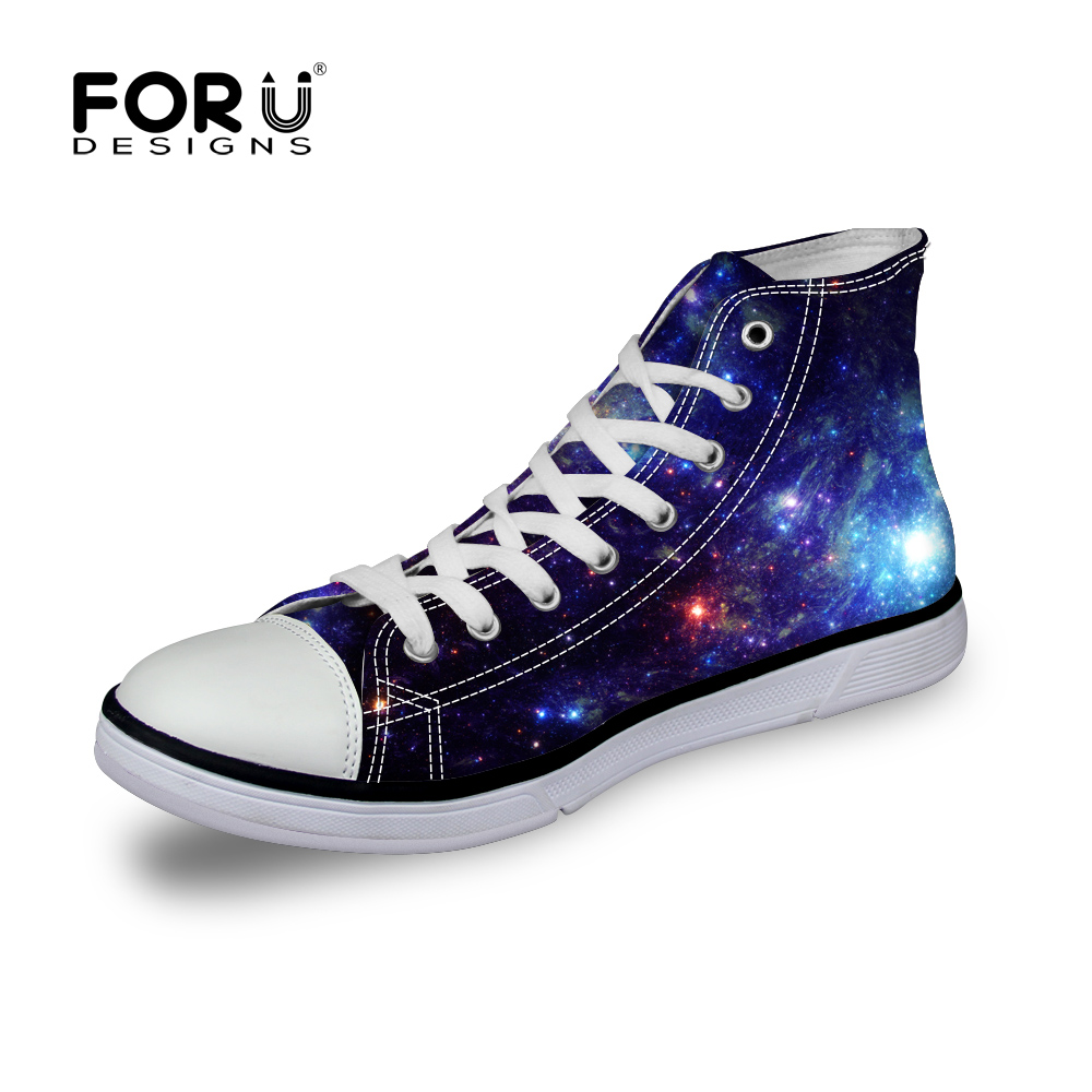 2017 Canvas Shoes for Men Galaxy Star Universe Printed High Top Casual Boys Shoes Designer Classic Lace up Male Walking Shoes
