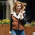 Veri Gude Женщины Искусственного Меха Зимняя Куртка Контрастного Цвета Искусственная Кожа Пальто Мотоцикл Стиль Slim Fit Высокое Качество
