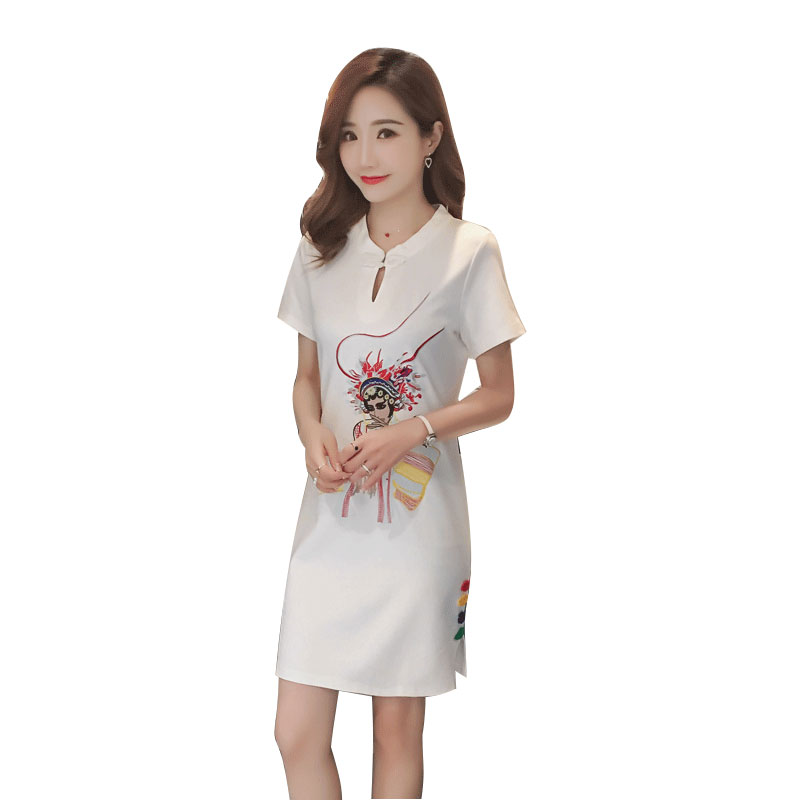 2019 white vintage chinese style qipao short embroidery lace cheongsam dress women's chinese traditional dress