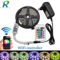 Tira LED 5050 RGB RGBW / RGBWW WiFi 10m 5m DC 12V 5050 RGB tira LED RGBW de luz Flexible WiFi 24 teclas adaptador de controlador
