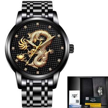 LIGE Men's Luxury Gold Dragon Waterproof Stainless-Steel Quartz Watches 5